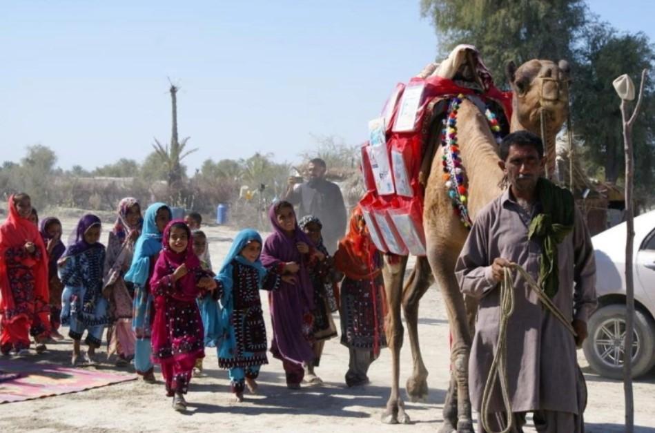 Верблюд Рошан приносит книги пакистанским детям